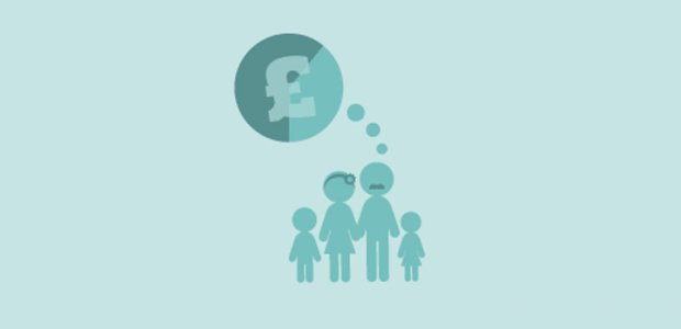 Family thinking about money graphic
