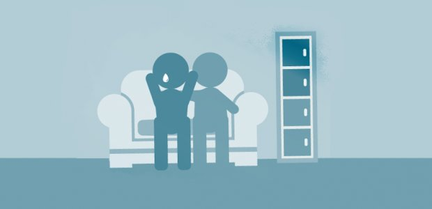 Partners talking on the sofa graphic