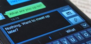 Phone with flirty messages
